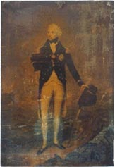 Unrestored antique print of Nelson